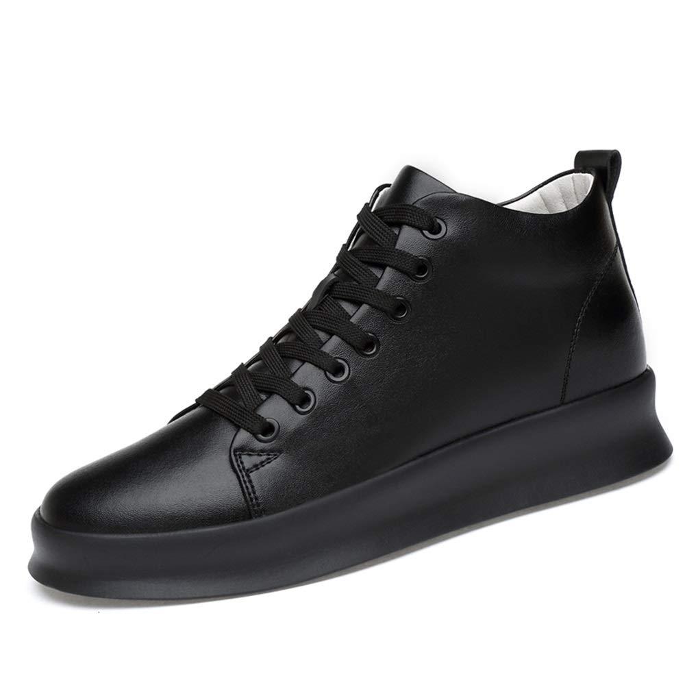 SchwarzHohe Spitzenschuhe für Männer Komfort Turnschuhe Aufzug Antislip Ankle Schuhe runde Zehe PU Leder oberen dauerhafte Höhe Erhöhung 8 cm Wanderschuhe Lace-Up,Grille Schuhe