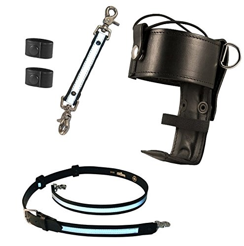 Boston Leather Firefighter's Bundle- Reflective Anti-Sway Strap for Radio Strap, Reflective Radio Strap / Belt with 2 Cord Keepers, Universal Firefighter's Radio Holder (Leather Universal Radio)