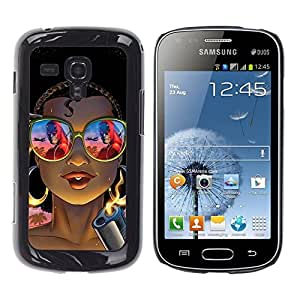 All Phone Most Case / Hard PC Metal piece Shell Slim Cover Protective Case Carcasa Funda Caso de protección para Samsung Galaxy S Duos S7562 cool chick gangster gun shades tattoo