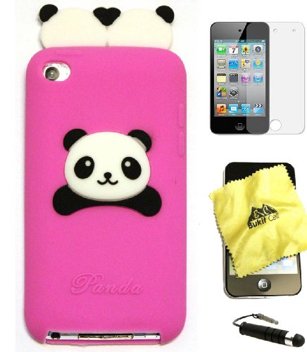 BUKIT CELL HOT PINK Cute Panda (TWINS) Cartoon Soft Silicone Gel Skin Case Cover for IPOD TOUCH 4 4G 4TH GENERATION + Free Screen Protector + Free METALLIC Detachable Touch Screen STYLUS PEN with Anti Dust Plug