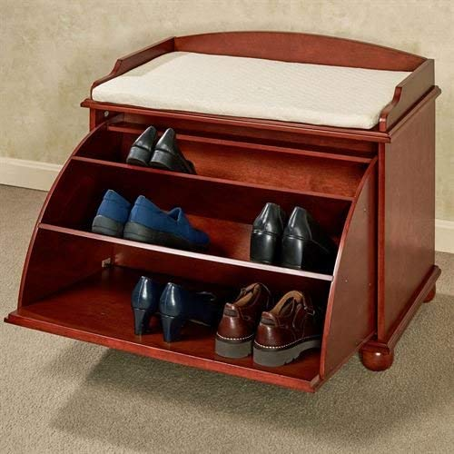 (Touch of Class Aubrie Wooden Shoe Storage Bench Classic Cherry)