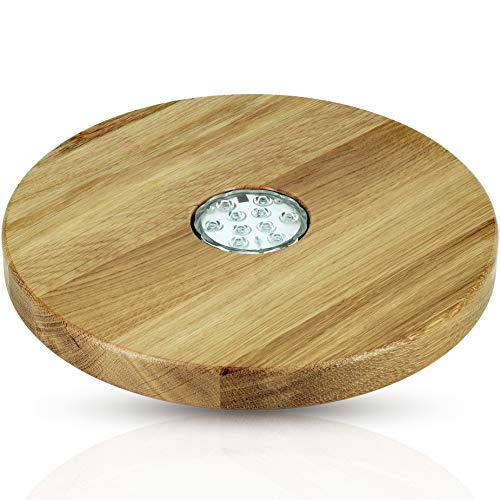 Blowglow Shisha Untersetzer led | Shisha Zubhör | Holz: Eiche | Sehr groß: 30cm Durchmesser | Hochwertige Handarbeit…