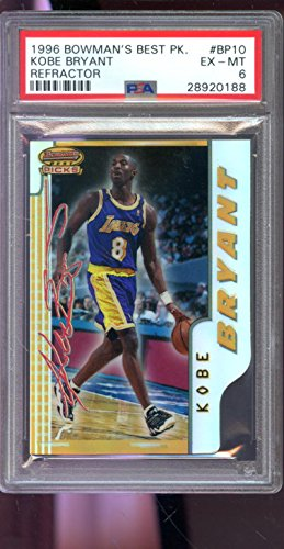 1996-97 Bowman's Best Picks REFRACTOR #BP10 Kobe Bryant ROOKIE RC PSA 6 Graded NBA Basketball Card Bowmans (Bowmans Best Football Box)