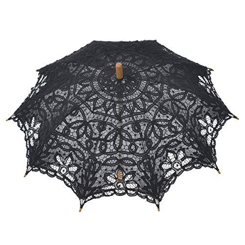 Remedios Cotton Lace Umbrella Sun Parasol for Wedding Bridal Decoration Black