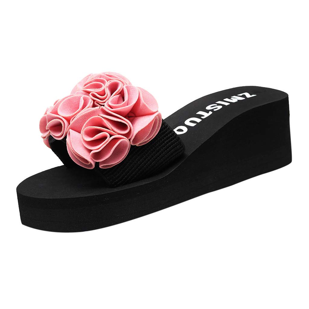 Bohemian Womens Summer Camellias Flowers Wedge Flip Flop Sandals Beach Thong Slippers Slip On Slides