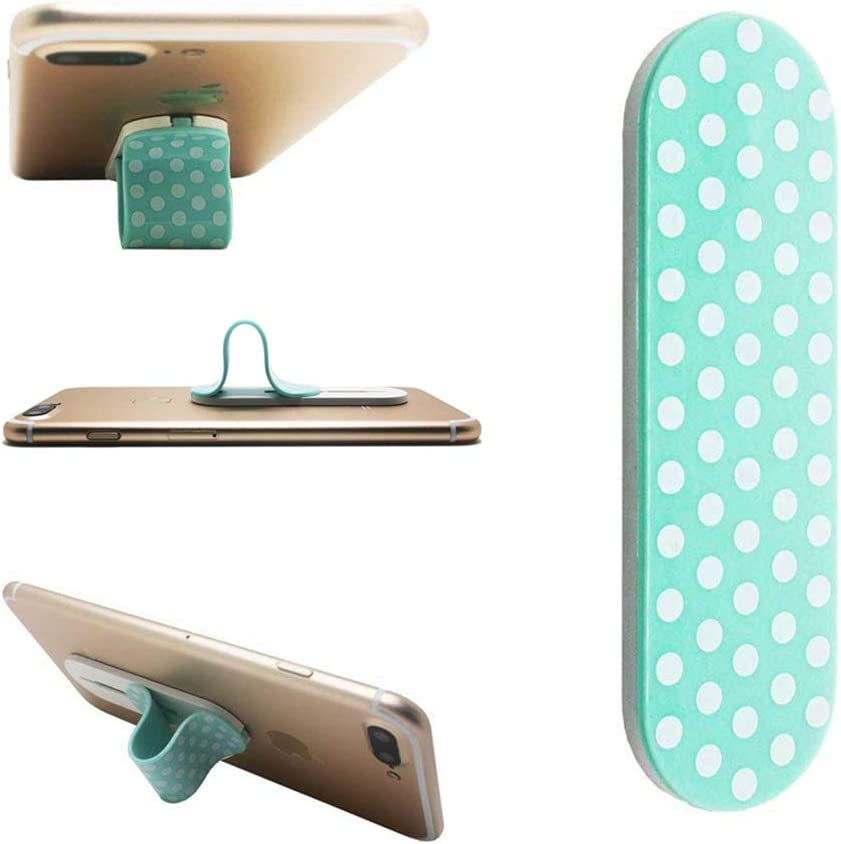 AOLIY Cell Phone Grip - Phone Handle/Phone Strap/Finger Grip for iPhone Android Smartphones Tablets Car Vent Holder Mobile Devices (Cyan with White dots)