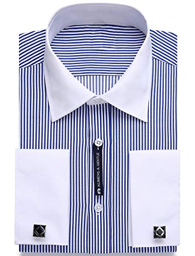 Stripe Cuff Shirt - Alimens & Gentle Contrast Collar Stripe French Cuff Regular Fit Dress Shirts(Color: Stripe Blue, Size:14.5
