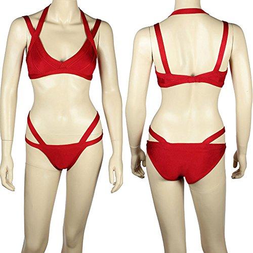 Bikini Strap 2 Rayon Bandage Swimsuit Rosso Cross Set Swimwear Double Hlbandage Piece qdzqaX