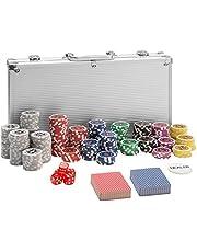 TecTake Maletín de Póker Aluminio con fichas láser Poker Chips | Plateado | Incl. 5 Dados + 2 Barajas de Cartas + 1 ficha de Dealer (300 Pieza | Plateado | no. 402557)