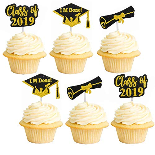 Glitter Graduation Cupcake Toppers 2919 Gold Hat Party Decorations Congrats Cake Picks Supplies 20pcs