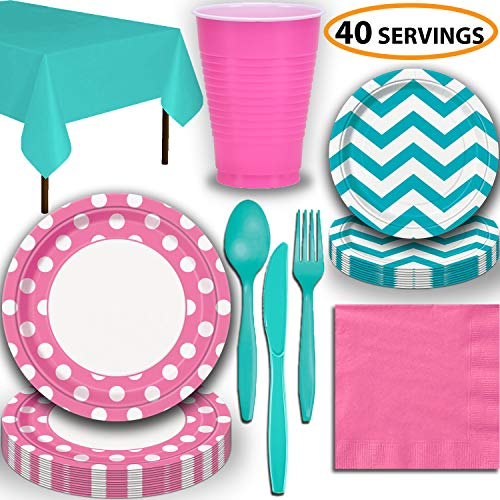(Disposable Tableware, 40 Sets - Hot Pink and Caribbean Teal - Dotted Dinner Plates, Chevron Dessert Plates, Cups, Lunch Napkins, Cutlery, and Tablecloths: Premium Quality Party Supplies Set)