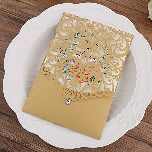 Doris Home 50pcs Vertical Gold Classic Style Wedding Invitations with Rhinestone Cards Kit Custom,(50) ()