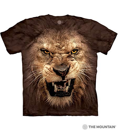 Tee Face Lion - The Mountain Big Face Roaring Lion Adult T-Shirt, Brown, 3XL