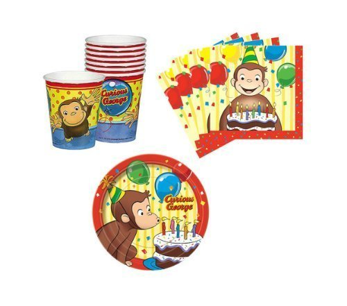Curious George Birthday Party Supplies Set Plates Napkins Cups Kit for 16 by Unique