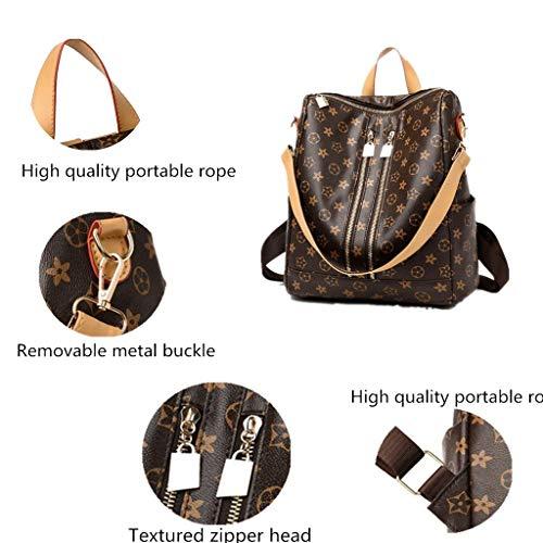 Ladies Travel Shoulder Zipper Stylish Leather Brown Designer �� Backpack Big Fashion GTESCO Womens Waterproof Backpacks Bags xwKXf4pawq