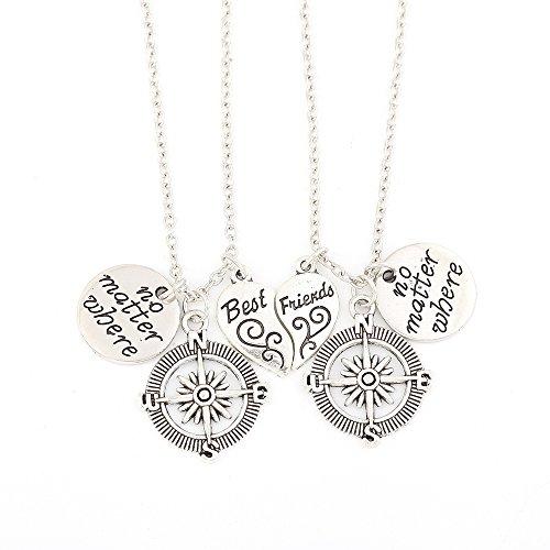 BR Gold Jewelry BBF No Matter Where Compass Necklaces Set Best Friend Friendship 2 Piece Broken Heart Necklace (No Matter Where)