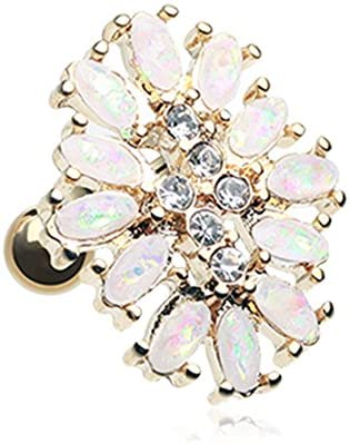 18G Golden Imitation Opal Gilia Delight Flower Cartilage Tragus Barbell Sold Individually