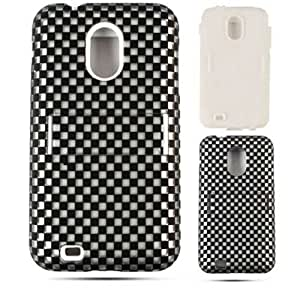 Cell Armor Jelly Case Samsung Galaxy S2, Epic 4G Touch, D710 Case Double Layer Cover (Black White Checks, 3D305-S) Boost, Sprint, Virgin Mobile, U.S Cellular by mcsharks