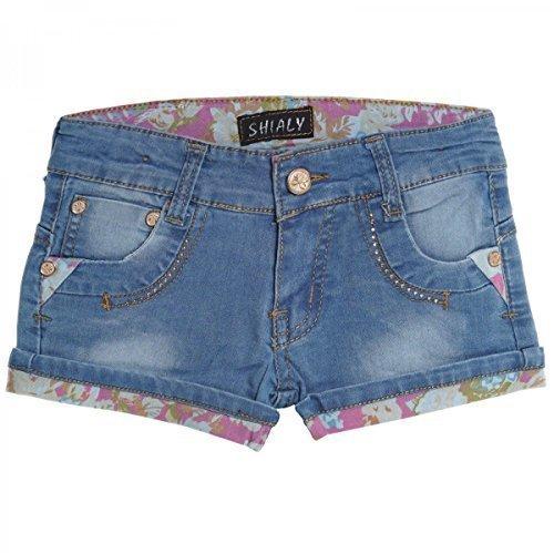 Kinder Mädchen Kurze Hose Bermuda Shorts Sommer Capri Pump Pants Jeans 20411, Farbe:Pink;Größe:140