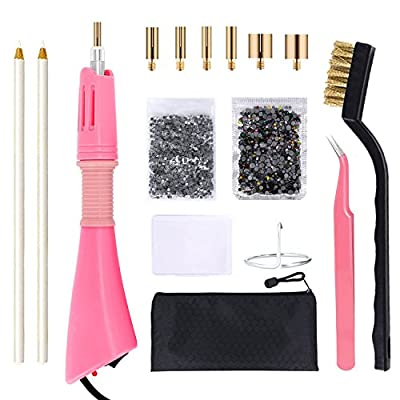Hotfix Applicator, GLTECK DIY Hot Fix Rhinestone Applicator Wand Setter Tool Kit with 7 Different Sizes Tips, Tweezers & Brush Cleaning kit and 2 Pack Hot-Fix Crystal