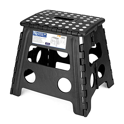 Acko Folding Step Stool - 13 inch Height Premium Heavy Duty Foldable Stool For Kids & Adults, Kitchen Garden Bathroom Stepping Stool (BLACK, 1PC) from Acko