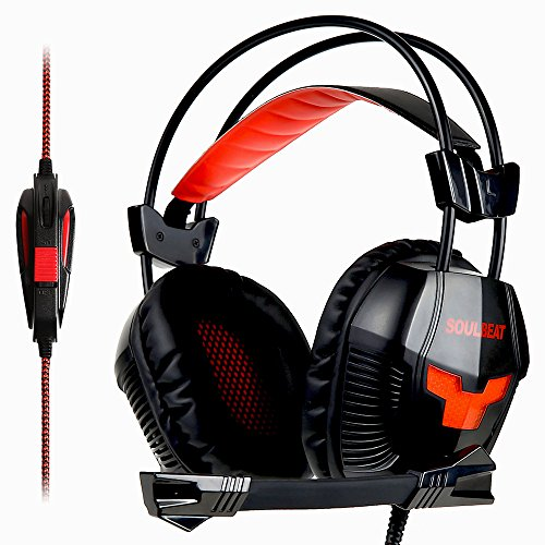 Soulbeat PS4 Gaming Headset LB-902 Over Ear Stereo Bass Gaming Headphone with noise cancelling microphone for PS4 vr Xbox One PC Mac desktop Laptop (Red Black)