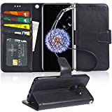 Galaxy S9 Case, Arae [Kickstand Feature] PU Leather Wallet case with [3-Slots] ID&Credit Cards Pocket for Samsung Galaxy S9 - Black