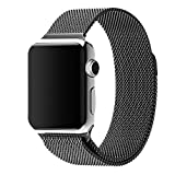 Wingco Apple Watch Band - Magnet Closure, 42mm Milanese Stainless Steel Replacement, Replacement Wrist Band for iWatch - Black