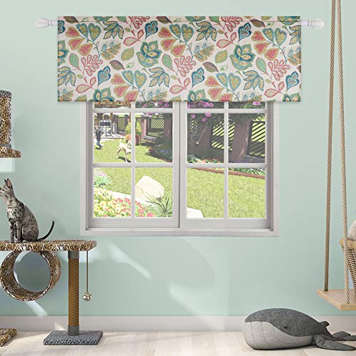 HUTO Short Valances Curtain Window Treatment for Kitchen Living Room Rod Pocket Christmas Rustic Vintage Floral Printed Valance -18 Inch Long Valance,One ()