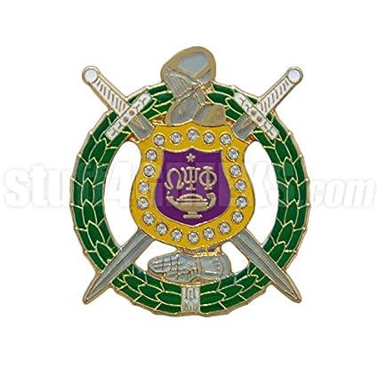 Amazon Omega Psi Phi Swarovski Crystal Shield Lapel Pin