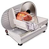 Andrew James Electric Food Slicer For Home Use - Made from Aluminium & Steel with Three 19cm Interchangeable Blades for Vegetables Bread & Meat - Plastic Blade Guard Non-Slip Feet - End Piece Holder & Quiet 150W Motor