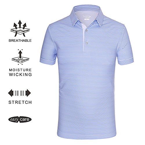 EAGEGOF Regular Fit Men's Shirt Stretch Tech Performance Golf Polo Shirt Short Sleeve L (Blue Horizontal (Performance Mens Golf Polo)