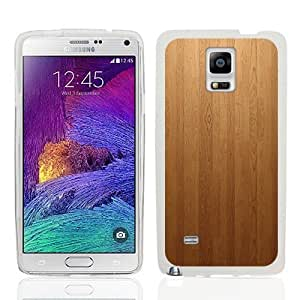 Fincibo (TM) Samsung Galaxy Note 4 N910 TPU Transparent Clear Design Silicone Protector Case Cover Soft Gel Skin - WoodLook