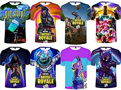 Fnite T-Shirts | Compression Tshirts | 3D Print Funny T-Shirt Llama Crew Neck Battle Royal Zombie