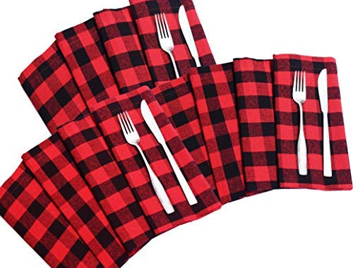 Wedding Napkins In Plaid Check Fabric-18x18 Red Black Cloth Napkins,100% cotton napkins,Cocktails Napkins,Fabric Napkins,Mitered Corners & Generous Hem, Machine Washable Dinner Napkins Set of 12 ()
