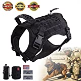 Hanshengday Tactical Dog Vest-Training Molle Harness-tactical dog backpack-Pet tactical -vest Detachable Pouches-Relective Patches
