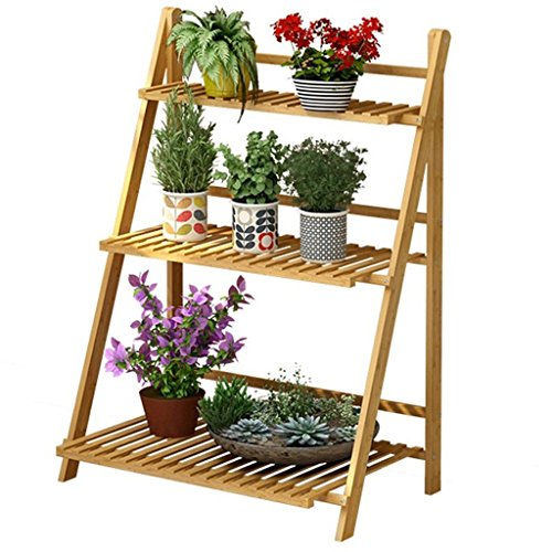 Flower Rack 3 Tier Foldable Bamboo Wooden Flower Display Rack, Indoor Flower Stand, Multifunction Retro Plant Stairs for Garden/Balcony Flower Shelf Indoor Or Outdoor (Size : 70x40x96cm)