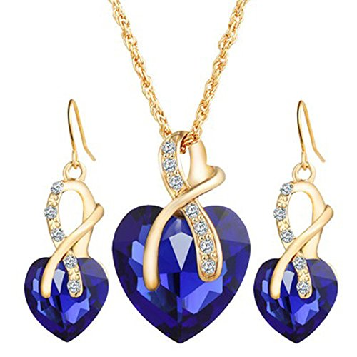 - Gahrchian Necklace Earrings Jewelry Set Swarovski Crystals Dangle Drop Necklace Earrings Perect Gift for Women (Blue)