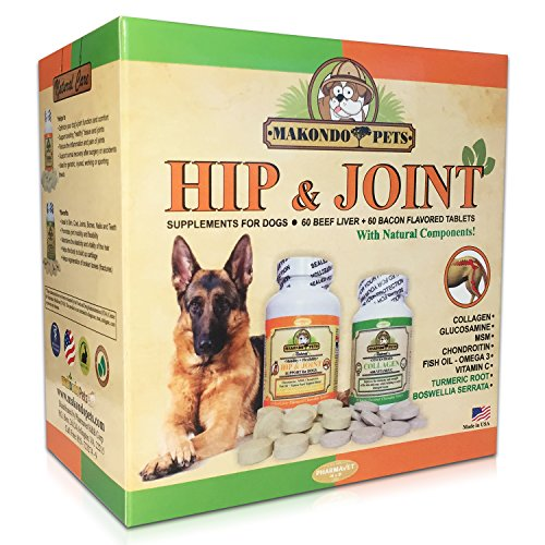 Platinum Glucosamine (Dog Arthritis Aid - Hip and Joint Supplements for Dogs with Collagen Chondroitin MSM Vitamins Fish Oil and Glucosamine for Dogs + Natural Boswellia & Turmeric for Dogs - 120 Tabs for Dog Joint Pain)