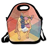 JAPOye French Bulldog USA Flag Sunglasses Tie Waterproof Lunch Tote Bag Insulated Reusable Picnic Lunch Boxes For Men Women Kids