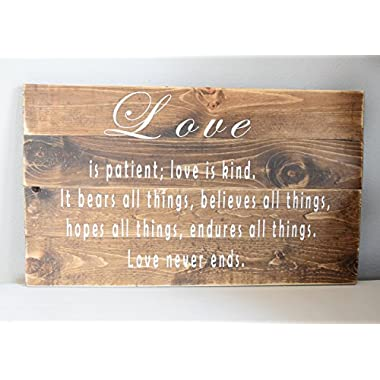Bible Verse Wall Art – Love is patient sign – Wood Sign Sayings – Wedding gift - Inspirational Sayings and Quotes