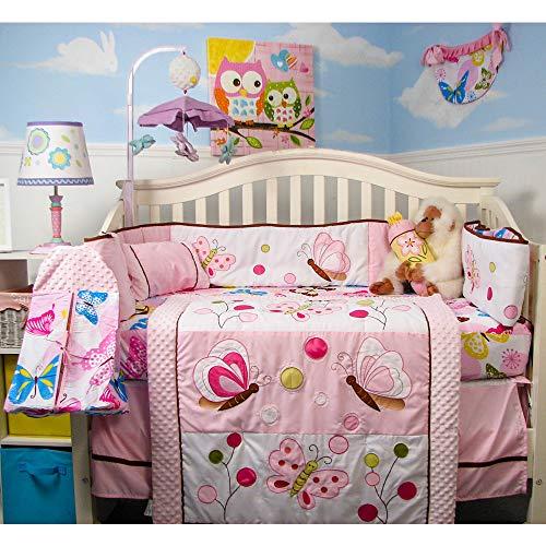 SoHo Baby Crib Bedding 9 Piece Set, Pink Butterflies
