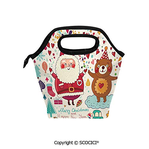 (Printed Pattern Portable Lunch Tote Bag Santa and Teddy Bear Vintage Christmas Ornaments Party Kids Nursery Decor insulation cold outdoor picnic lunch box bag.)