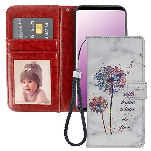 JQLOVE Samsung Galaxy S9 Wallet Phone Case, Watercolor Dandelion Series PU Leather Flip Magnetic Clasp Multi Card Slot Stand Holder Cover Wallet Case for Samsung Galaxy ()