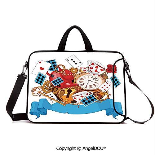 - AngelDOU Customized Neoprene Printed Laptop Bag Notebook Handbag Mad Design of Cards Clocks Tea Pots Keys Flowers Fantasy World Illustration Deco Compatible with mac air mi pro/Lenovo/asus/acer M