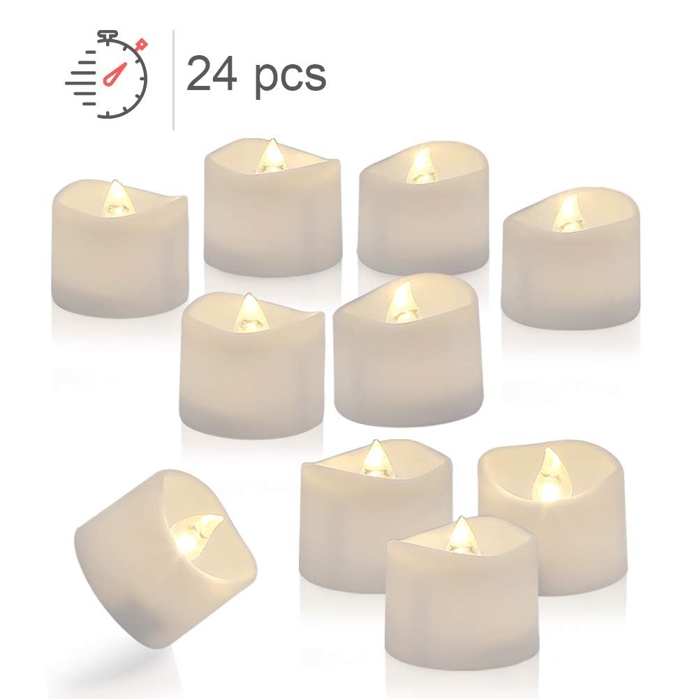 Homemory 24 Pack LED Timer Tealights Flameless Flickering Tea Lights Candles with Timer, Warm White Light