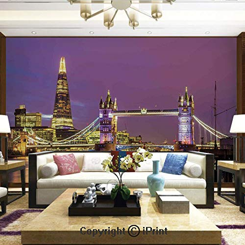 Wallpaper Nature Poster Art Photo Decor Wall Mural for Living Room,Tower Bridge in London at Night Historical Cultur Monument Europe British Urban Decorative,Home Decor - 100x144 inches ()
