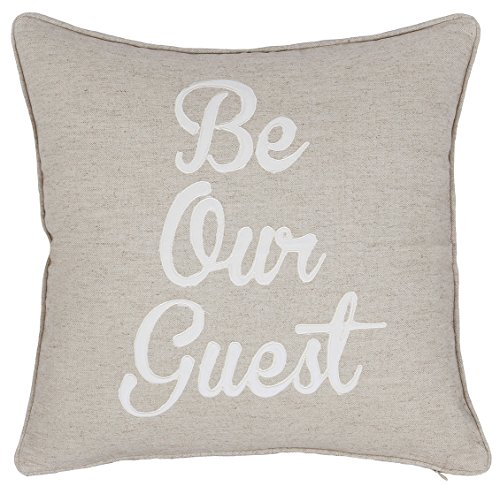 "EURASIA DECOR DecorHouzz Be Our Guest Appliqued Pillowcases Embroidered Pillow Cover CushionThrow Pillow Decorative Pillow Wedding Birthday 18""X18"" (Linen)"