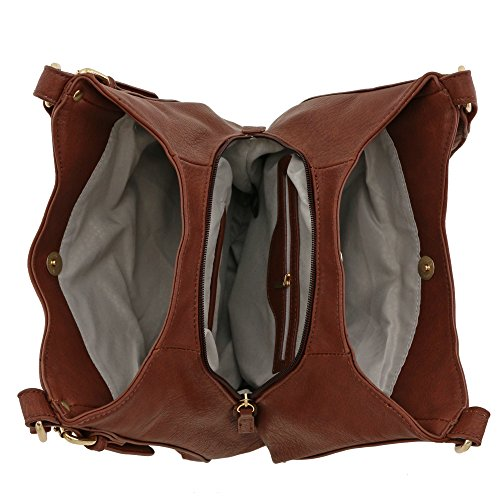 Light-weight 3 Compartment Faux Leather Medium Hobo Bag (Coffee) by FashionPuzzle (Image #5)