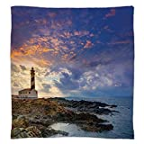 iPrint Super Soft Throw Blanket Custom Design Cozy Fleece Blanket,Lighthouse Decor,Cap de Favaritx Sunset Lighthouse Cape in Mahon at Balearic Islands of Spain Coast,Perfect for Couch Sofa or Bed